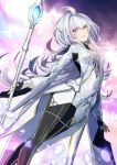 1girl ahoge bangs black_gloves black_pants blush breasts fate/grand_order fate/prototype fate_(series) fingerless_gloves gloves holding holding_staff long_hair long_sleeves looking_at_viewer merlin_(fate/prototype) open_mouth pants small_breasts smile staff thighs tyone very_long_hair white_robe wide_sleeves