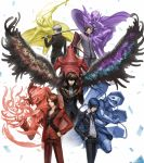5boys amamiya_ren anniversary arsene_(persona_5) back-to-back belt black_coat black_eyes blue_eyes blue_hair brown_eyes brown_hair cape card chain character_request closed_mouth coat feathered_wings fire gloves grey_hair hair_between_eyes hand_on_hip hands_in_pockets hat highres holding holding_polearm holding_sword holding_weapon izanagi_(persona_4) katana male_focus mask multiple_boys narukami_yuu over_shoulder persona persona_2 persona_3 persona_4 persona_5 pointy_footwear polearm purple_hair red_gloves saikoro_(et1312) school_uniform standing sword sword_over_shoulder thanatos_(persona) top_hat uniform weapon weapon_over_shoulder wings yuuki_makoto zipper zipper_pull_tab