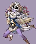 1girl archfiend_eccentrick boots bracelet breasts cape commentary_request covered_eyes demon_girl duel_monster feather_trim feathers gem grin highres horns jewelry medium_breasts ooike_teru purple_background purple_skin simple_background skull smile solo white_cape white_footwear yuu-gi-ou