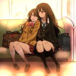 2girls bag brown_footwear brown_hair cardigan closed_eyes commentary_request drooling green_eyes green_neckwear idolmaster idolmaster_cinderella_girls jacket jewelry kneehighs long_hair multiple_girls nakahira_guy necklace necktie open_mouth plaid plaid_skirt red_skirt school_uniform shibuya_rin shimamura_uzuki shoes sitting skirt sleeping train_interior zzz