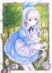 alice_in_wonderland animal apron bent_over blue_dress blue_eyes blush bow colored_pencil_(medium) darkkanan dress graphite_(medium) hair_bow hairband highres lolita_fashion long_hair original outdoors pantyhose pinafore_dress ponytail standing traditional_media watercolor_(medium) white_hair white_legwear