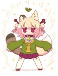 1girl animal_ears asymmetrical_ears bangs bell bell_collar blush brown_collar collar double_bun eyebrows_visible_through_hair fox_ears fox_girl fox_tail full_body green_shirt hair_between_eyes hair_ornament highres jingle_bell kemomimi-chan_(naga_u) leaf long_sleeves looking_at_viewer multiple_tails naga_u orange_neckwear original pleated_skirt purple_skirt raccoon_ears raccoon_girl raccoon_tail ribbon-trimmed_legwear ribbon_trim sailor_collar shadow shirt skirt sleeves_past_fingers sleeves_past_wrists solo sparkle standing tail thigh-highs two_tails v-shaped_eyebrows violet_eyes white_background white_legwear white_sailor_collar