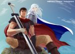 2boys androgynous armor berserk black_hair blue_eyes brown_eyes cape dragonslayer_(sword) expressionless facial_scar feet_out_of_frame griffith_(berserk) guts_(berserk) holding holding_sword holding_weapon long_hair male_focus multiple_boys muscle nose_scar red_cape scar short_hair sitting sky sword toned toned_male twitter_username wavy_hair weapon white_cape white_hair wind wind_lift zonzgong