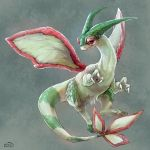 claws closed_mouth commentary_request fang flygon full_body gen_3_pokemon highres k3on no_humans pokemon pokemon_(creature) signature smile tail watermark wings