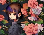 1girl breast_pocket brown_hair closed_mouth collared_shirt expressionless flower from_side grey_background grey_rose ka_(marukogedago) looking_at_viewer looking_to_the_side original pocket red_eyes red_flower red_rose rose shiny shiny_hair shirt short_hair solo upper_body wing_collar