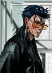 1boy alternate_costume blue_hair bodypaint chain-link_fence closed_mouth cu_chulainn_(fate)_(all) cu_chulainn_alter_(fate/grand_order) earrings fate/grand_order fate_(series) fence frown jacket jewelry leather leather_jacket long_hair looking_back looking_to_the_side ponytail red_eyes shadow solo spiky_hair sunglasses teapotkaede tinted_eyewear type-moon