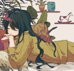 1girl closed_eyes closed_mouth cup green_hair ka_(marukogedago) long_sleeves lying mug on_bed on_stomach original pajamas pants pillow plant potted_plant shirt solo toy_horse yellow_pajamas yellow_pants yellow_shirt