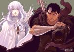 2boys androgynous bandages berserk black_hair blue_eyes dragonslayer_(sword) expressionless facial_scar fighting_stance griffith_(berserk) guts_(berserk) long_hair looking_at_viewer male_focus multicolored_hair multiple_boys nose_scar one_eye_closed red_eyes scar scarf serious short_hair streaked_hair twitter_username two-tone_hair wavy_hair white_hair zonzgong