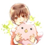 1boy brown_hair child holding holding_stuffed_toy karashi_minamin kitamura_motoyasu object_hug red_eyes short_hair smile solo stuffed_animal stuffed_toy tate_no_yuusha_no_nariagari yari_no_yuusha_no_yarinaoshi younger