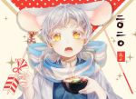 1boy 2020 animal_ear_fluff animal_ears arrow_(projectile) bangs beige_background bell bowl chinese_zodiac ear_ribbon extra_ears food hair_ornament hairclip hamaya holding holding_bowl japanese_clothes jewelry jingle_bell kemonomimi_mode kimono long_sleeves looking_at_viewer male_focus mochi mouse_boy mouse_ears mouse_tail mushroom necklace new_year open_mouth scarf shichimi_(ftlvampire32) solo steam striped tail tassel tongue touken_ranbu tsurumaru_kuninaga upper_body vegetable white_hair year_of_the_rat yellow_eyes zouni_soup