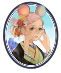 1girl :d animal_ears blue_sky braid chinese_zodiac commentary_request flower glasses green_eyes hair_fan hair_flower hair_ornament hands_up highres japanese_clothes kimono meu_(esekai) mountain mouse_ears nail_polish open_mouth original pink_hair pink_nails rose round_image short_hair sky smile solo year_of_the_rat