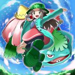 1girl :d arms_up ass bangs bike_shorts black_footwear blue_sky blush brown_eyes brown_hair clouds commentary_request dress fanny_pack full_body gen_1_pokemon glint green_headwear green_jacket hat highres holding holding_poke_ball jacket jumping leaf_(pokemon) long_hair long_sleeves looking_at_viewer open_clothes open_jacket open_mouth parted_bangs petals pink_dress poke_ball poke_ball_(basic) pokemon pokemon_(creature) pokemon_(game) pokemon_masters_ex porkpie_hat shoes shorts_under_dress sidelocks sky smile sneakers solo_focus starter_pokemon twisted_torso twitter_username venusaur yamane_(viq4201)