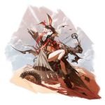 1girl alternate_costume animal_ears april_(arknights) arknights arrow_(projectile) bangs bare_legs black_footwear boots bow_(weapon) coat compound_bow grey_coat hair_between_eyes highres holding holding_bow_(weapon) holding_weapon long_sleeves official_art open_clothes open_coat quiver rabbit_ears reoen short_hair solo transparent_background violet_eyes weapon