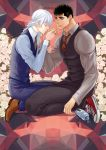 2boys alternate_costume androgynous berserk black_hair blue_eyes bottle braid brown_eyes chest closed_eyes collar couple cover cover_page doujin_cover facial_scar flower formal full_body griffith_(berserk) guts_(berserk) hand_kiss kiss long_hair looking_at_another male_focus multiple_boys muscle necktie nose_scar scar shoes short_hair single_braid toned toned_male twitter_username vest water_bottle wavy_hair white_flower white_hair yaoi zonzgong