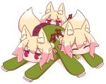 3girls ^_^ animal_ear_fluff animal_ears bangs bell blonde_hair blush closed_eyes dogpile eyebrows_visible_through_hair fox_ears fox_girl fox_tail green_shirt hair_between_eyes hair_bun hair_ornament jingle_bell kemomimi-chan_(naga_u) long_sleeves looking_at_viewer lying multiple_girls naga_u on_stomach original pleated_skirt purple_skirt sailor_collar shadow shirt sidelocks skirt sleeves_past_fingers sleeves_past_wrists sparkle tail v-shaped_eyebrows violet_eyes white_background white_sailor_collar