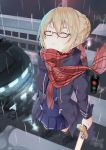 1girl absurdres ahoge artoria_pendragon_(all) bangs blonde_hair blue_jacket blue_skirt car closed_eyes commentary contemporary crosswalk dutch_angle fate/grand_order fate_(series) from_above glasses ground_vehicle hair_bun highres holding holding_sword holding_weapon huge_filesize jacket motor_vehicle mysterious_heroine_x_(alter) night open_clothes open_jacket outdoors parted_lips plaid plaid_scarf pleated_skirt rain red_scarf reflection road scarf semi-rimless_eyewear sidelocks skirt solo standing sword water weapon wet zeppeki_shoujo