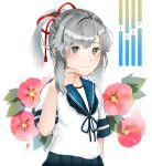 1girl bangs blue_sailor_collar blue_skirt blush brown_eyes closed_mouth dated flower grey_hair highres jitsukawa_ashi kantai_collection leaf pink_flower ponytail sailor_collar school_uniform serafuku short_hair sidelocks simple_background skirt solo upper_body usugumo_(kantai_collection) white_background