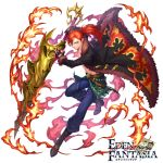 1boy belt black_jacket blue_pants boots box_(hotpppink) copyright_name eden_fantasia flaming_weapon full_body fur_trim hair_over_one_eye hair_tie holding holding_lance holding_polearm holding_weapon jacket knee_boots lance male_focus official_art pants polearm ponytail redhead watermark weapon white_background