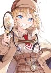 1girl :d absurdres bangs blonde_hair blue_eyes blush brown_coat brown_headwear coat collared_shirt commentary_request curcumin deerstalker eyebrows_visible_through_hair grin hair_ornament hairclip hand_on_hip hat highres holding holding_magnifying_glass hololive hololive_english long_sleeves magnifying_glass necktie open_clothes open_coat open_mouth red_neckwear shirt short_hair simple_background smile solo teeth twitter_username upper_body virtual_youtuber watson_amelia white_background white_shirt