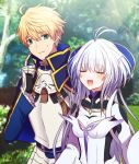 1boy 1girl ahoge armor arthur_pendragon_(fate) blonde_hair breastplate breasts closed_eyes eyebrows_visible_through_hair fate/grand_order fate/grand_order_arcade fate/prototype fate_(series) gauntlets gloves green_eyes hair_between_eyes hair_intakes hair_ornament highres hoshino_hikari long_hair looking_at_another merlin_(fate/prototype) pink_eyes robe shoulder_armor small_breasts smile very_long_hair white_hair white_robe