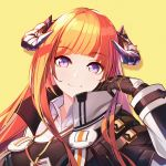 1girl arknights bagpipe_(arknights) bangs black_gloves breasts eyebrows_visible_through_hair gloves hand_up high_collar highres horns jacket lanyard lave2600 long_hair long_sleeves looking_at_viewer orange_hair shirt smile solo violet_eyes
