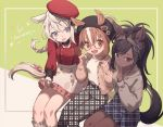 alternate_costume animal_ears beige_hoodie beret black_hair black_neckwear black_pants blue_eyes blue_skirt braid brown_eyes brown_thoroughbred_(kemono_friends) casual chestnut_thoroughbred_(kemono_friends) choker commentary_request dark_skin ears_through_headwear eyebrows_visible_through_hair frilled_legwear frilled_skirt frills glasses hat headgear highres hood hoodie horse_ears horse_girl horse_tail jacket kemono_friends kemono_friends_3 light_brown_hair long_sleeves multicolored_hair namihaya pants pink_jacket pink_skirt plaid plaid_pants plaid_skirt pleated_skirt ponytail red_shirt shirt short_hair sitting skirt sleeve_cuffs socks tail white_hair white_legwear white_pants white_shirt white_skirt white_thoroughbred_(kemono_friends)