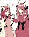 2girls akagashi_hagane animal_ears bangs black_bow blush bow braid cat_ears cat_tail chen closed_eyes commentary_request cowboy_shot dress fang hair_bow hand_up hansoku_tantei_satori hat heart holding_hands interlocked_fingers jewelry kaenbyou_rin long_hair long_sleeves mob_cap multiple_girls multiple_tails open_mouth polka_dot polka_dot_background short_sleeves single_earring smile tabard tail touhou twin_braids two_tails white_background
