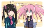 2girls artist_name bare_shoulders belt black_hair blue_eyes blush_stickers dated elbow_gloves gloves hair_between_eyes hair_ribbon highres jewelry kiraki long_hair long_sleeves looking_at_another multiple_girls necktie pendant pink_hair presea_combatir red_eyes ribbon senki_zesshou_symphogear sidelocks star_(symbol) tales_of_(series) tales_of_symphonia tsukuyomi_shirabe twintails uniform