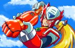 1boy android blonde_hair clenched_teeth clouds commentary_request day helmet holding kin-san_(sasuraiga) long_hair male_focus motion_blur outdoors rockman rockman_zero sky solo sword teeth upper_body weapon weapon_on_back zero_(rockman)