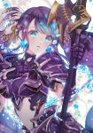 1girl aqua_eyes armor breastplate commentary_request earrings eyebrows_visible_through_hair faulds fins gauntlets highres jewelry long_hair navel ningyo_hime_(sinoalice) parted_lips polearm purple_hair shoulder_armor sinoalice solo spear tm_(pixiv45602758) very_long_hair water weapon