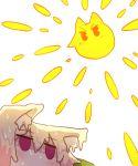 2girls animal_ear_fluff animal_ears bangs blonde_hair blush eyebrows_visible_through_hair fox_ears hair_between_eyes highres hot kemomimi-chan_(naga_u) melting multiple_girls naga_u original red_eyes simple_background sun sunlight sweat white_background