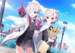 2girls ;d a.a_(aa772) animal animal_ears azur_lane bag baguette bangs bird black_dress black_gloves black_jacket blue_eyes blue_sky bread closed_mouth clouds commentary_request day denver_(azur_lane) dress eyebrows_visible_through_hair food gloves grey_hair grocery_bag hair_between_eyes hair_ornament hairclip holding jacket lamp low_twintails map montpelier_(azur_lane) multiple_girls one_eye_closed open_clothes open_jacket open_mouth outdoors outstretched_arm paper_bag pointing red_eyes red_gloves river shopping_bag short_sleeves short_twintails sky smile sweat twintails v-shaped_eyebrows water white_jacket