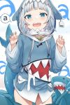 1girl a bangs barcode blue_eyes blue_hair blue_hoodie blush claw_pose ear_tag fish_bone fish_skeleton gawr_gura hews highres hololive hololive_english hood long_sleeves looking_at_viewer medium_hair multicolored_hair no_panties open_mouth shark shark_costume shark_girl shark_hood shark_print shark_tail sharp_teeth smile solo speech_bubble streaked_hair tail teeth virtual_youtuber white_hair