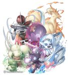 artist_name bisharp blue_eyes commentary_request crystal drifblim fire froslass gen_1_pokemon gen_3_pokemon gen_4_pokemon gen_5_pokemon highres holding ninetales no_humans open_mouth orange_eyes pokemon pokemon_(creature) sableye signature substitute_(pokemon) tomosatooon tongue watermark whimsicott white_background