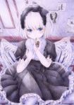 1girl angel angel_wings bandages bib blue_eyes blush bob_cut colored_pencil_(medium) darkkanan gothic_lolita graphite_(medium) hairband halo headband highres indoors intravenous_drip lolita_fashion lolita_hairband looking_at_viewer original pantyhose short_hair sitting solo traditional_media white_hair white_legwear wings