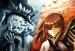 2girls absurdres aircraft airplane alexzhang black_headwear blue_eyes brown_eyes brown_hair cannon glowing glowing_eyes hat headband headgear highres jewelry kantai_collection long_hair multiple_girls pale_skin ring shinkaisei-kan short_hair taihou_(kantai_collection) teeth tentacles turret upper_body wedding_band white_hair wo-class_aircraft_carrier