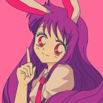 1990s_(style) 1girl animal_ears blouse blush collared_blouse crescent crescent_moon_pin eyebrows_visible_through_hair hanadi_detazo index_finger_raised long_hair necktie pink_background puffy_short_sleeves puffy_sleeves purple_hair rabbit_ears red_eyes red_neckwear reisen_udongein_inaba short_sleeves skirt smile solo touhou white_blouse