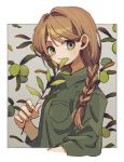 1girl border braid brown_hair closed_mouth fingernails freckles from_side green_eyes green_shirt hair_over_shoulder ka_(marukogedago) looking_at_viewer looking_to_the_side original shirt smile solo upper_body white_border