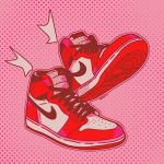 air_jordan air_jordan_1 artist_name daekio dotted_background floating floating_object nike no_humans original pink_background shoes sneakers symbol_commentary