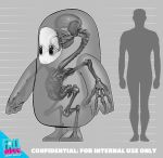 1other commentary copyright_name english_commentary english_text fall_guy fall_guys full_body greyscale highres monochrome official_art ribs silhouette size_comparison skeleton skull solid_oval_eyes standing striped striped_background tudormorris what x-ray