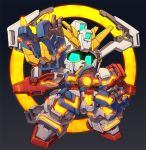 black_background blue_eyes chibi clenched_hand floating g_gundam glowing glowing_eyes god_gundam gundam gundam_unicorn mecha no_humans nt-d open_hand solo susagane v-fin