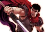 1boy armor aura berserk black_hair chest cloak dragonslayer_(sword) facial_scar fighting_stance guts_(berserk) harness leather male_focus muscle nose_scar pauldrons red_cloak red_eyes scar short_hair shoulder_armor sleeveless solo toned toned_male twitter_username upper_body white_background zonzgong