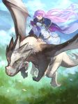 1girl absurdres bird blue_dress cape claws cloak closed_mouth commission commissioner_upload dragon dress expressionless fire_emblem fire_emblem:_the_binding_blade flying hair_blowing highres horns huge_filesize landscape long_hair long_sleeves nature picnicic purple_hair riding scales sky sophia_(fire_emblem) tail very_long_hair violet_eyes yellow_eyes