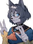 1boy absurdres ahoge animal_ear_fluff animal_ears aqua_shirt black-framed_eyewear black_hair blue_eyes braid brown_gloves choker collarbone commentary_request double_v fingerless_gloves glasses gloves grey_fur hair_between_eyes hands_up highres indie_virtual_youtuber kushizaki_(vtuber) looking_at_viewer o-ring o-ring_choker open_mouth ribbed_gloves sailor_collar shirt short_hair simple_background solo st_(youx1119) sweatdrop upper_body v virtual_youtuber white_background wolf_ears