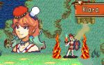 1girl character_name chef_hat english_commentary fire fire_emblem hat holding holding_shield holding_sword holding_weapon hololive hololive_english hungry_rabbit mini_hat multiple_views orange_hair parody pixel_art shield style_parody sword takanashi_kiara violet_eyes weapon