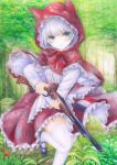 1girl animal_ears apron blush bob_cut breasts cat_ears colored_pencil_(medium) darkkanan dress graphite_(medium) green_eyes gun highres hood hoodie little_red_riding_hood lolita_fashion looking_at_viewer medium_breasts original shoes short_hair solo standing standing_on_one_leg thigh-highs traditional_media watercolor_(medium) weapon white_hair white_legwear