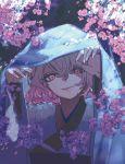 1girl cherry_blossoms flower highres japanese_clothes kimono long_sleeves looking_at_viewer petals pink_eyes pink_hair pink_theme saigyouji_yuyuko short_hair smile takushiima touhou tree_branch wavy_hair wide_sleeves