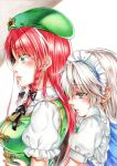 2girls absurdres beret black_neckwear blue_eyes blush bow braid colored_pencil_(medium) earrings eyebrows_visible_through_hair eyelashes frilled_shirt_collar frilled_sleeves frills from_side green_eyes hair_bow hat highres hong_meiling hug hug_from_behind huge_filesize izayoi_sakuya jewelry long_hair maid maid_headdress multiple_girls neck_ribbon nora_wanko parted_lips puffy_short_sleeves puffy_sleeves redhead ribbon short_hair short_sleeves side_braid silver_hair star_(symbol) stud_earrings touhou traditional_media twin_braids upper_body yuri