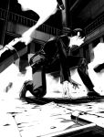 1boy at_gunpoint dust_cloud formal from_below from_side ginoza_nobuchika greyscale indoors kazunon long_sleeves looking_away male_focus monochrome necktie on_floor one_knee out_of_frame outstretched_arms pants ponytail profile psycho-pass railing shoes smoke_trail socks solo suit