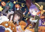 >_< 3girls :d absurdres ahoge all_fours alternate_costume animal_ears arms_up azur_lane bandages bat bed_sheet black_cape black_eyes black_hair blush cape claw_pose commentary_request crescent crescent_moon curtains fox_ears frilled_skirt frills gloves halloween hat highres jack-o'-lantern long_hair looking_at_viewer moon multiple_girls mummy_costume mutsu_(azur_lane) nagato_(azur_lane) open_mouth orange_gloves parted_lips pumpkin purple_hair short_hair skirt smile striped striped_legwear tail thigh-highs unicorn_(azur_lane) violet_eyes wakamoto_riwo witch_hat wolf_tail xd zettai_ryouiki
